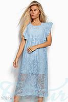 Эффектное гипюровое платье. Цвет голубой.