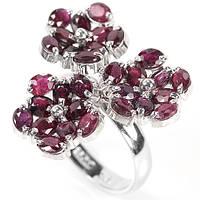 Рубин, серебро 925, кольцо букетик