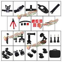 33в1 Спорт камеры Аксессуары для GoPro Комплект Hero 2 3 4 3 Plus sjcam sj4000 5000 6000 Xiaomi Yi спорта камеры