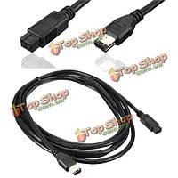 Высокая скорость firewire 800 ieee1394 b 9pin на 3 м к 6pin dv кабельный шнур приводит для цифровой видеокамеры PC Mac
