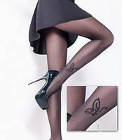 Женские капроновые колготы Giulia FLY 20 den с бабочкой (черный цвет), 76/88