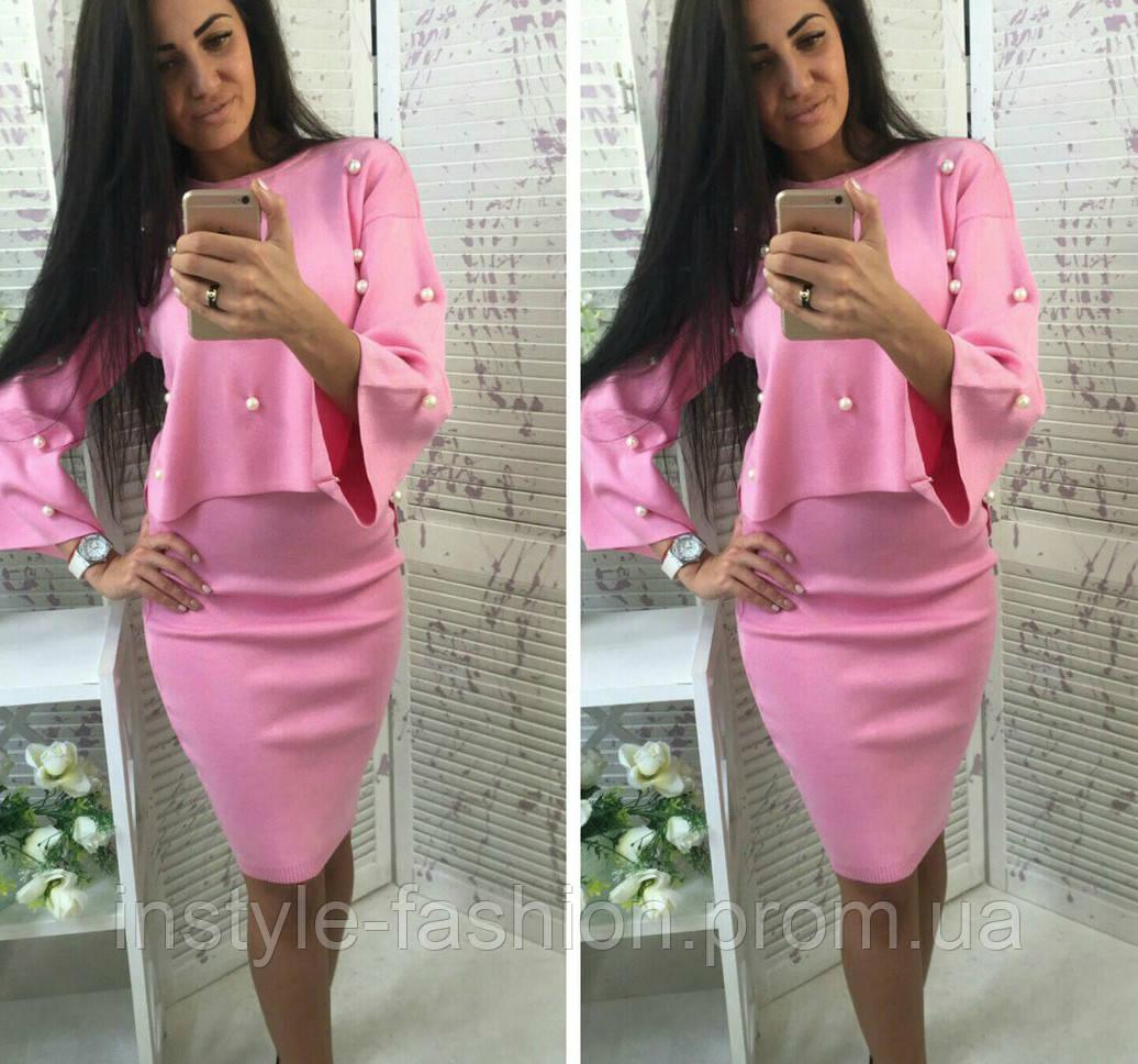 Женский стильный костюм кофта и юбка ткань машинная вязка розовый