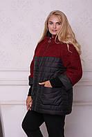 Куртка женская зимняя комбинированная №568 (р.54-64) красный/черный, 54