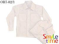 Рубашка детская с длинным рукавом для подростка SmileTime для мальчика на кнопках, белая
