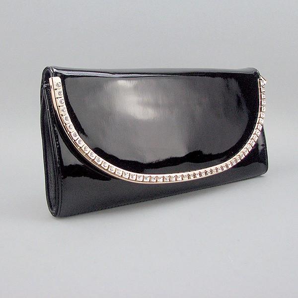 b319d475c398 Сумка-клатч Applaud кожаная черная лаковая - Интернет магазин сумок SUMKOFF  - женские и мужские