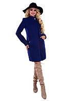 Женское синее осеннее шерстяное пальто арт. Сплит букле 6739