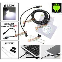 6 LED 7мм объектив ip67 USB андроид эндоскоп бороскоп водонепроницаемые трубки змея камера для Андроид  телефон и ПК