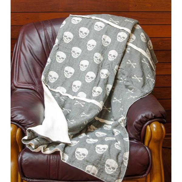 Плед микроплюш Barine - Skull-bones siyah 125*170