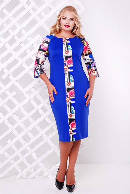 Женское платье Монро цвет электрик размер 52,56 / большие размеры