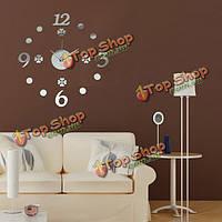 DIY Mirror Acrylic Digit Number Wall Clock Home Office Decor Sticker