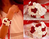 """Браслет на руку с цветами """"Бело-красные розы"""""""
