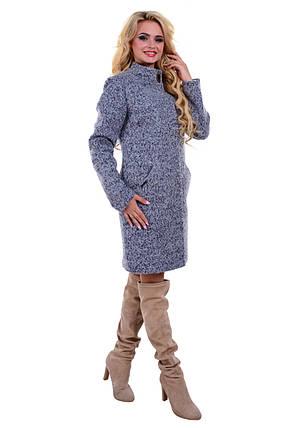 Женское серое осеннее шерстяное пальто арт. Сплин букле 6756, фото 2