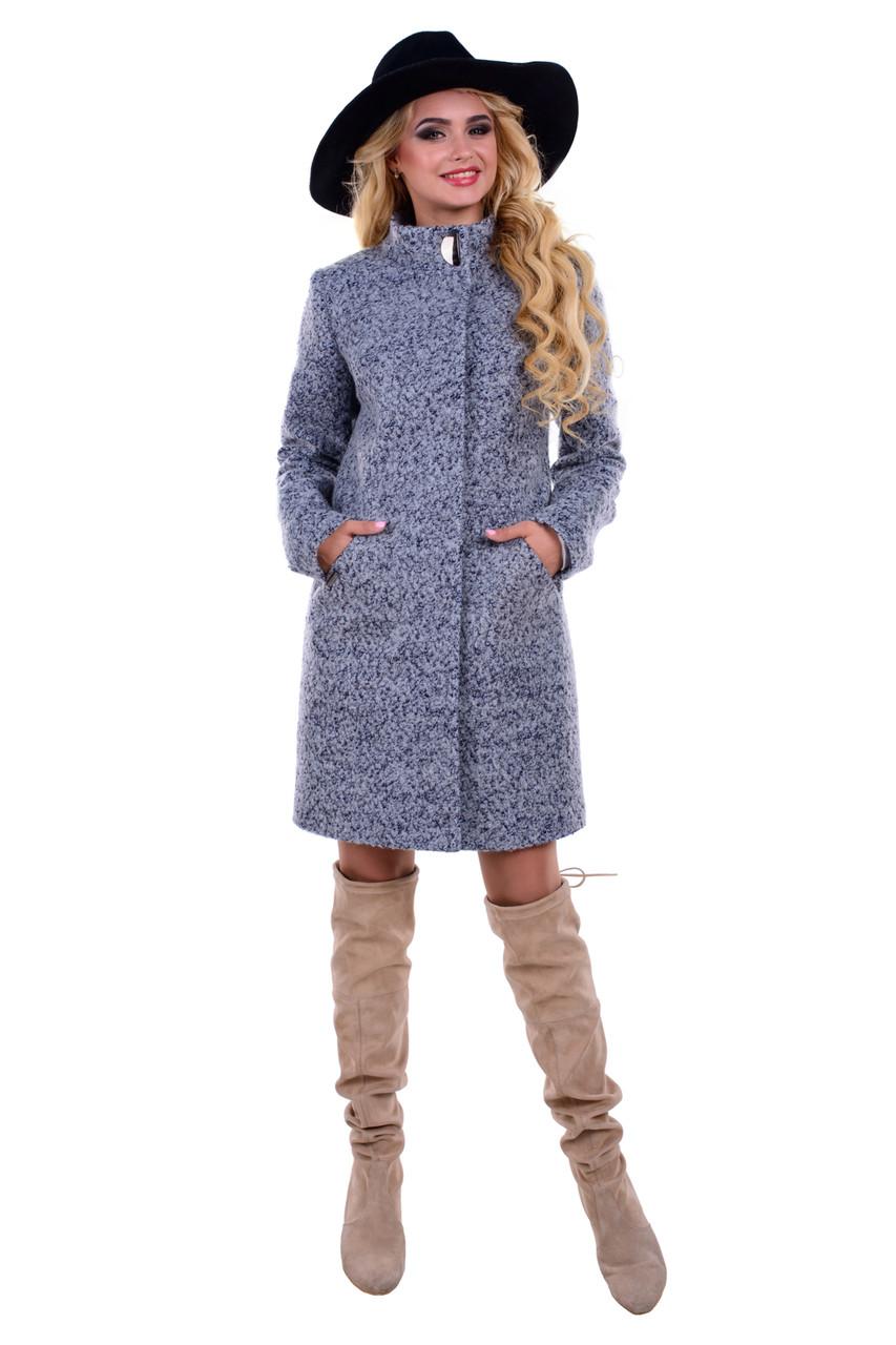 Женское серое осеннее шерстяное пальто арт. Сплин букле 6756