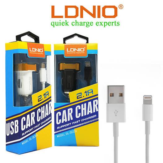 Автомобильное зарядное устройство LDNIO DL-DC211+кабель Lightning