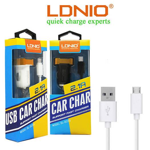 Автомобильное зарядное устройство LDNIO DL-DC211+кабель microUSB