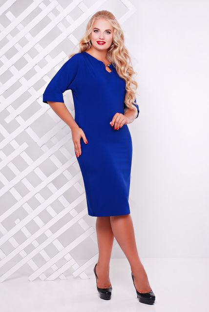 Женское платье приталенное Оливия цвет электрик до 58 размер / большие размеры