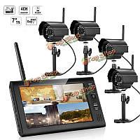 Эннио sy602e14 7 дюймов TFT цифровой 2.4G беспроводной аудио-видео 4ch система безопасности четырехъядерных DVR с 4-х камер