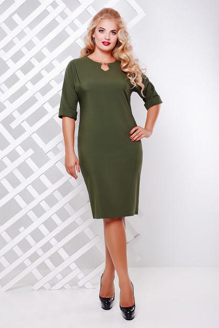 Женское платье приталенное Оливия цвет оливковый до 58 размер / большие размеры