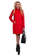 Женское красное демисезонное шерстяное пальто арт. Сплин букле 6755
