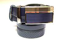 Ремень с автоматической пряжкой 'Diplom®' кожаный темно-синий 35 мм, фото 1
