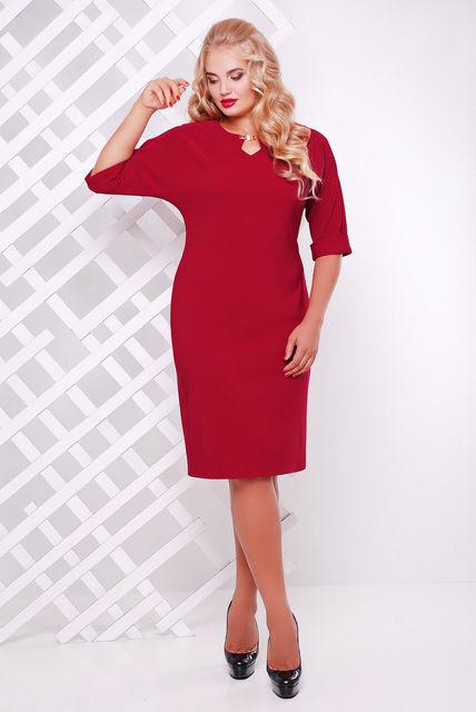 Женское платье приталенное Оливия цвет бордо до 58 размер / большие размеры