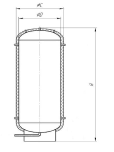 Эскиз теплоаккумулирующего бака ТАЕ полого
