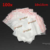 100шт закрывающейся прозрачной Clear ювелирных Lightning пластиковые блокировка мешки 10x15см