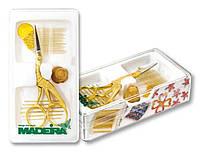 9480 Золотой набор Madeira: вышивальные иглы, нитковдеватель, наперсток и ножницы