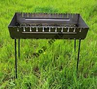 Мангал чемодан 12 шампуров, 2 мм сталь, 2 уровня