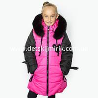 """Зимнее пальто для девочки """"Микс"""" от производителя,"""