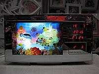 Ночник аквариум с движущимися рыбками часами и календарем