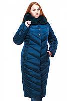 Теплый зимний пуховик больших размеров Мария с мехом мутон