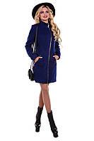 Женское темно-синее осеннее шерстяное пальто арт. Тиват букле 6786