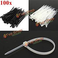 100шт 100x2.5мм нейлон кабель основных проволока zip галстук ремень черный/белый