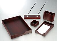 """Настольный набор деревянный 5 предметов """"красное дерево"""""""