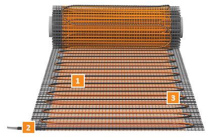 Конструкция нагревательного мата Теплолюкс ProfiMat