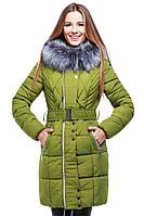 Молодежная зимняя куртка Пейтон с мехом чернобурка утеплитель синтепух в цветах