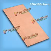 Медный лист чистота 99.99% пластина 2х200х100мм