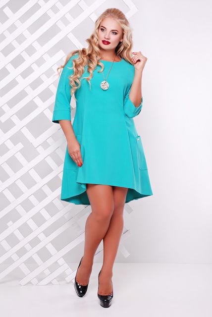 Женское трикотажное платье со шлейфом Милана цвет мята размер 50-56 / большие размеры
