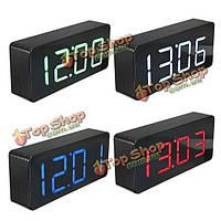Акриловое зеркало деревянный цифровой LED время будильник календарь термометр
