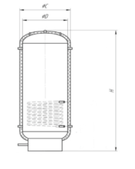 Эскиз теплоаккумулирующего бака ТАЕ-ТО-Ч