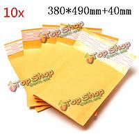 10шт 380 * 490мм 40мм + пузырь конверт желтого цвета крафт-бумаги мешок конверт почтовые