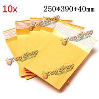 10шт 250 * 390мм 40мм + пузырь конверт желтого цвета крафт-бумаги мешок конверт почтовые