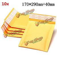 10шт 170 * 290мм 40мм + пузырь конверт желтого цвета крафт-бумаги мешок конверт почтовые