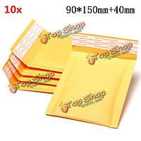 10шт 90 * 150мм 40мм + пузырь конверт желтого цвета крафт-бумаги мешок конверт почтовые