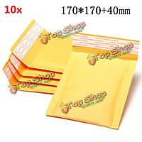 10шт 170 * 170мм + 40мм пузырь конверт желтого цвета крафт-бумаги мешок конверт почтовые