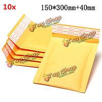 10шт 150 * 300мм 40мм + пузырь конверт желтого цвета крафт-бумаги мешок конверт почтовые