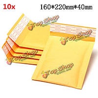 10шт 160 * 220мм 40мм + пузырь конверт желтого цвета крафт-бумаги мешок конверт почтовые