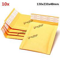 10шт 130 * 230мм 40мм + пузырь конверт желтого цвета крафт-бумаги мешок конверт почтовые