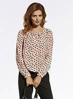 Женская шифоновая блуза розового цвета в черный горох. Модель 220027 Enny, коллекция осень-зима 2016-2017